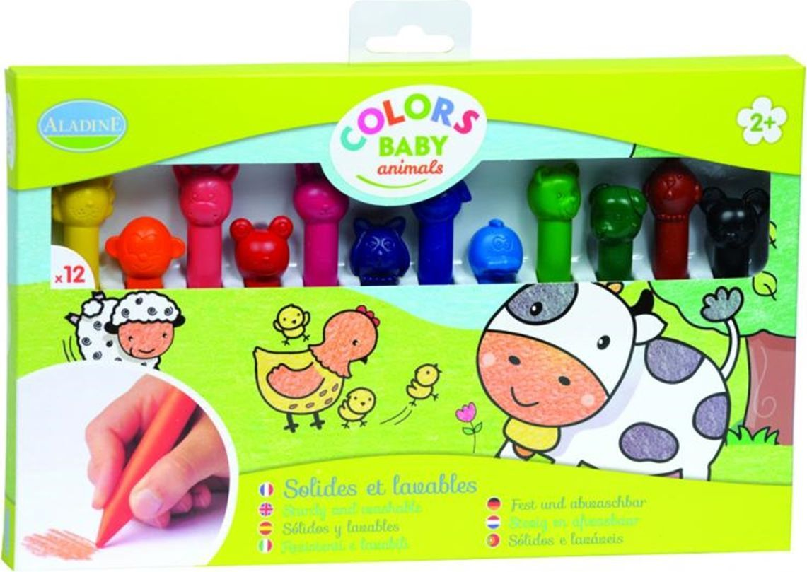 Восковые карандаши для малышей  Aladine , 12 цветов -  Карандаши