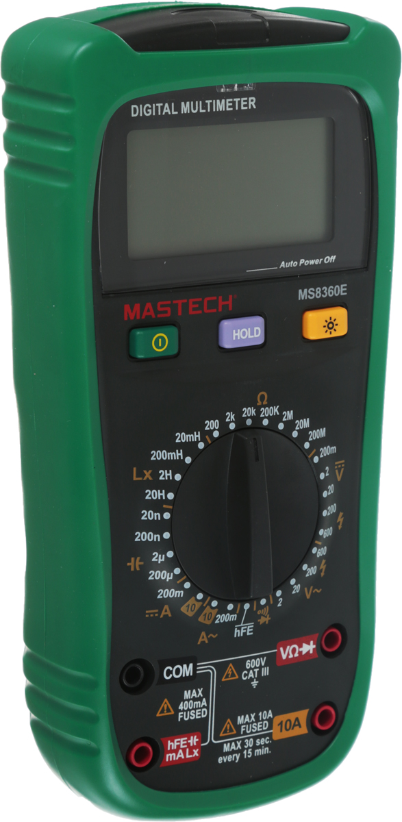Измеритель емкости и индуктивности Mastech MS8360E13-2028Mastech MS8360E— это электроизмерительный прибор, который включает в себя несколько функций и набор измеряемых параметров. Он измеряет постоянное и переменное напряжение, а так же постоянный и переменный ток, сопротивление в цепи, емкость и индуктивность. С помощью данного прибора можно проводить тестирование диодов, прозвонку целостности цепи и измерение коэффициента усиления транзисторов. Кроме того, мультиметр оборудован специальным датчиком (NCV), с помощью которого вы бесконтактно сможете определить есть ли напряжение на участке, например в розетке, если есть необходимость демонтировать ее, то с помощью данного мультиметра вы сможете сразу узнать, есть ли в ней напряжение. Таким образом, один прибор сможем заменить сразу несколько устройств одновременно. Прибор является портативным мультиметром, компактные размеры позволяют всегда носить его с собой. Но, несмотря на размеры, данный мультиметр обладает широким функционалом и это выгодно отличает его от других. Прибор имеет функцию удержания результата измерений Data hold, для тех случаев, когда измерения проводятся в труднодоступных местах и не всегда есть возможность взглянуть на экран. Дисплей прибора оснащен подсветкой, которая позволяет проводить измерения даже в слабоосвещенных местах. Инженеры старались сделать прибор максимально удобным для использования. Выбор измеряемых величин и пределов измерений производиться с помощью усиленного поворотного регулятора, благодаря которому исключается возможность случайного нажатия. Прибор изготовлен из высококачественных материалов, калибровка и тестирование приборов произведено под контролем компании REXANT INTERNATIONAL.Характеристики:Постоянное напряжение: 200 mВ/2В/20В/200В/6000В (±0,5%+2).Переменное напряжение: 2В/20В/200В/600В (0,8%+3).Постоянный ток: 200 мкА (±1.0 % +5), 10 A (±2,0%+5).Переменный ток: 200 мкА (±1.5 % +5), 10 A (±3,0%+5).Сопротивление: 200Ом/2 КОм/20 КОм/200 КОм/2 МОм (±0.8% +5), 20 МОм (