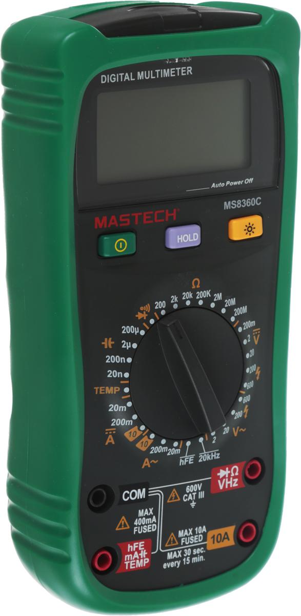 Мультиметр профессиональный Mastech MS8360C13-2027Mastech MS8360C - это электроизмерительный прибор, который включает в себя несколько функций и набор измеряемых параметров. Онизмеряет постоянное и переменное напряжение, а также постоянный и переменный ток, сопротивление в цепи, емкость, частоту и дажетемпературу. С помощью данного прибора можно проводить тестирование диодов, прозвонку целостности цепи и измерение коэффициентаусиления транзисторов. Также мультиметр оборудован специальным датчиком, с помощью которого вы бесконтактно сможете определить, естьли напряжение на участке, например в розетке, если есть необходимость демонтировать ее. Таким образом, один прибор сможет заменить сразунесколько устройств одновременно. Мультиметр является портативным, компактные размеры позволяют всегда носить его с собой. Но,несмотря на малые размеры, данный прибор обладает широким функционалом и это выгодно отличает его от других. Имеет функцию удержаниярезультата измерений Data hold для тех случаев, когда измерения проводятся в труднодоступных местах и не всегда есть возможность взглянутьна экран. Дисплей прибора оснащен подсветкой, которая позволяет проводить измерения даже в слабоосвещенных местах. Инженеры старалисьсделать прибор максимально удобным для использования. Выбор измеряемых величин и пределов измерений производится с помощьюусиленного поворотного регулятора, благодаря которому исключается возможность случайного нажатия. Прибор изготовлен извысококачественных материалов, калибровка и тестирование приборов произведено под контролем компании REXANT INTERNATIONAL. Характеристики: Постоянное напряжение: 200 мВ/2В/20м/200В/600В (±0,5%+2). Переменное напряжение: 2В/20В/200В/600В (±0,8%+3). Постоянный ток: 20 мА/200 мА (±1,0%+5), 10A (±2,0%+5). Переменный ток: 20 мА/200 мА (±1,5%+5), 10 A (±3,0%+5). Сопротивление: 200О м/2 КОм/20 КОм/200 КОм/2 МОм/20 МОм (±0,8%+5), 200 МОм((±5,0%+5). Емкость: 20 нФ/200 нФ/2 мкФ/20 мкФ/200 мкФ (±4%+5). Частота: 0~20KГц (±0.5%+2). Температ