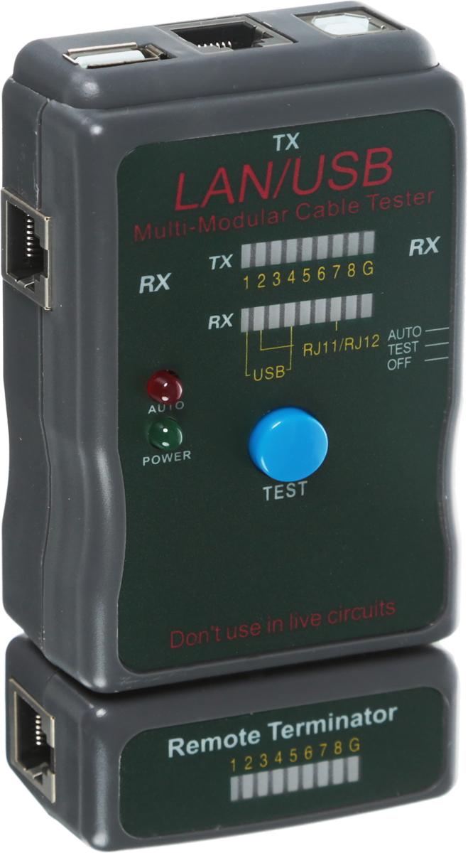 Тестер кабеля универсальный Rexant HY-251454CT, для RJ-45+USB12-1011Тестер Rexant HY-251454CT применяется для тестирования витой пары и USB кабеля. Тестер состоит из двух функциональных блоков - активной и пассивной части (заглушки), которые подключаются к концам кабельной линии через разъемы RJ-45 или USB. Имеет встроенную индикацию зарядки батареи питания. Светодиодная индикация есть на основном блоке прибора и на удаленном модуле, на которую выводится результат тестирования. Корпус изготовлен из ударопрочной пластмассы. Работает тестер от батарейки типа крона. В комплекте чехол для переноски и хранения.