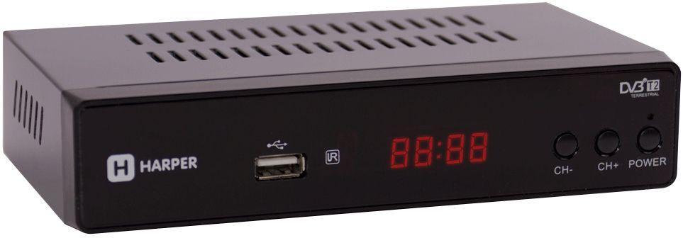 Harper HDT2-5010, Black цифровой телевизионный ресивер DVB-T200-00001478Цифровой телевизионный ресивер DVB-T2 С ЭКРАНОМ, в металлическом корпусе. Процессор: MStar MSD7T01; Тюнер: Rafael R836; Разрешение видео: 480i, 480p, 576i, 576p, 720p, 1080i, Full HD 1080p; Поддерживаемые форматы мультимедиа: AVI, MKV, VOB, TS, MPG, MP4, H.264, FLV, 3GP, OGG, MP3, WMA, WAV; Соотношение сторон: 16:9 full screen; 4:3 letter box & pan scan; Поддержка внешних жестких дисков HDD: FAT12/FAT16/FAT32/NTFS; Поддержка Multiple PLP; Функция Timeshift; Дисплей: нет; Поддержка Dolby AC3: да