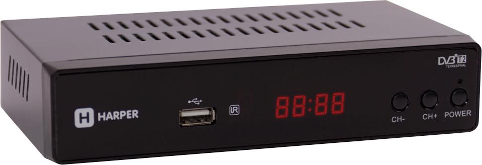 Harper HDT2-5050, Black цифровой телевизионный ресивер DVB-T200-00001479Цифровой телевизионный ресивер DVB-T2 с экраном, в металлическом корпусе. HDMI кабель; Процессор: MStar MSD7T01; Тюнер: Rafael R836; Разрешение видео: 480i, 480p, 576i, 576p, 720p, 1080i, Full HD 1080p; Поддерживаемые форматы мультимедиа: AVI, MKV, VOB, TS, MPG, MP4, H.264, FLV, 3GP, OGG, MP3, WMA, WAV; Соотношение сторон: 16:9 full screen; 4:3 letter box & pan scan; Поддержка внешних жестких дисков HDD: FAT12/FAT16/FAT32/NTFS; Поддержка Multiple PLP; Функция Timeshift; Дисплей: нет; Поддержка Dolby AC3: нет.
