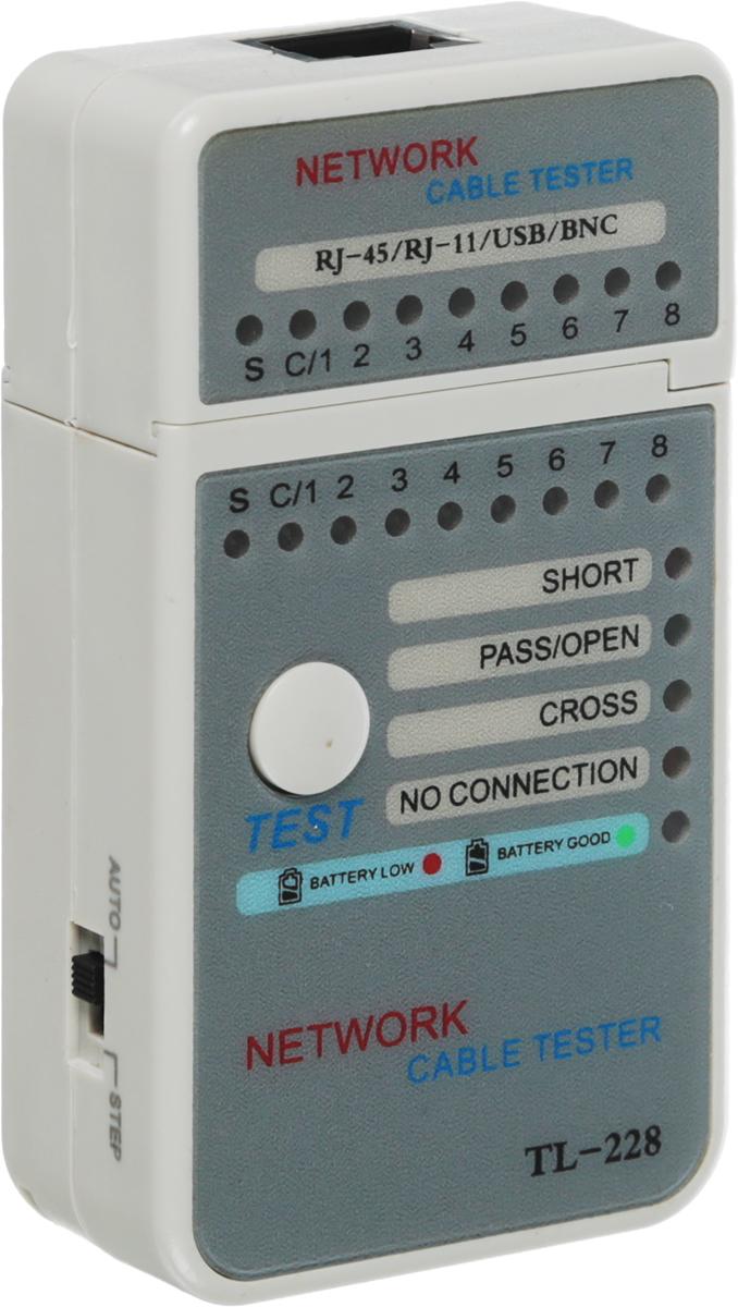 Тестер кабеля Rexant HT-228, для мини-RJ-4512-1010Тестер кабеля Rexant HT-228 предназначен для тестирования линий на правильность разводки, обрыва, короткого замыкания и полярности пар. Тестер состоит из двух функциональных блоков - передатчика и приемника, которые подключаются к концам кабельной линии через разъемы RJ-45. Светодиодная индикация есть на основном блоке прибора и на удаленном модуле. Напряжение питания от батареи 12 В. Имеет индикацию зарядки батареи питания. Корпус размером 90 х 50 х 24 мм изготовлен из ударопрочной пластмассы и имеет красивый практичный дизайн. В комплекте чехол для переноски и хранения.