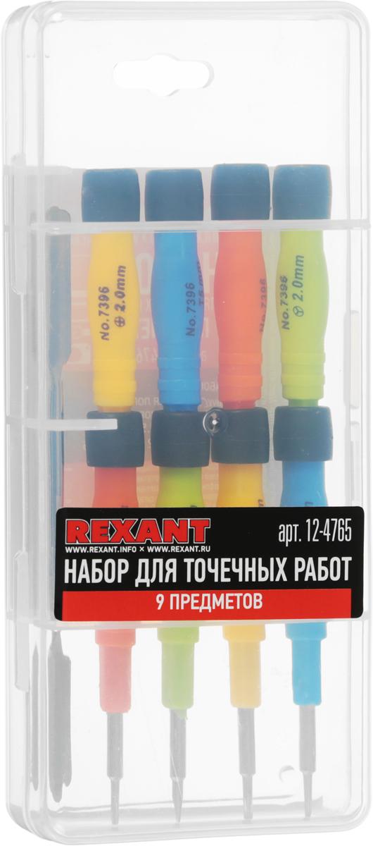 Набор для точечных работ Rexant, 9 предметов12-4765Набор для точечных Rexant предназначен для выполнения прецизионных работ в электронике и электромеханике. Набор поставляется в пластиковом боксе, удобен в использовании и транспортировке, содержит 9 предметов:- TORX (шестигранная звезда): T2, T5,- PHILLIPS (крестовая) : PH1.5, PH2.0,- SLOT (шлицевая) : SL2.0,- Pentalobe (шлиц для продукции Apple) : 0.8, 1.2,- Tri-Wing (трехлистник) : Y0.6 для iPhone7, 7 plus, Apple Watch,- двухсторонняя металлическая лопатка (для вскрытия корпуса, извлечения матрицы, схем и деталей).Подходит для ремонта большинства видов и моделей популярной портативной техники: смартфоны, часы, планшетные ПК, игровые приставки, электронные сигареты, ремонта iPhone ( iPhone 4, 4s, 5, 5S, 5C, SE, 6, 6 plus), iPAD, iPod А так же ремонта Iphone 7 /7 Plus, Apple Watch.