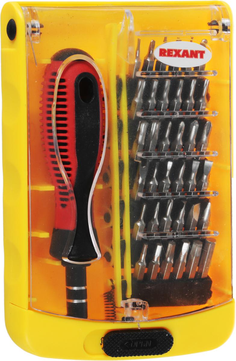 Набор отверток Reхant, для точечных работ, 37 предметов12-4702Набор отверток для точечных работ Reхant предназначена для выполнения прецизионных работ в электронике и электромеханике. Биты набора выполнены из хромованадиевой стали. Эргономичная двухкомпонентная рукоятка отвертки делает работу с инструментом легкой и удобной. Магнитный держатель обеспечивает быструю замену и надежную фиксацию насадок.Набор поставляется в пластиковом боксе и содержит 37 предмета:- отвертка 1 шт;- биты 36 шт.(Н 0,9, Н1,3, H 1.5, H 2.0, H 2.5, H 3.0, H 3.5, H 4.0, SL1.0, SL1.5, SL 2.0, SL 2.5, SL3.0, SL3.5, SL4.0, PHOO, PHOO, PH0, PH1, PH2, треугольная бита 2.0, треугольная бита 2.3, Y2.0,Y2.5, звезда Pentalobe 2.0, Т 3,Т4, T5,T6,T7, T8, Т9,T10, Т15,Т20, 0 1,5)