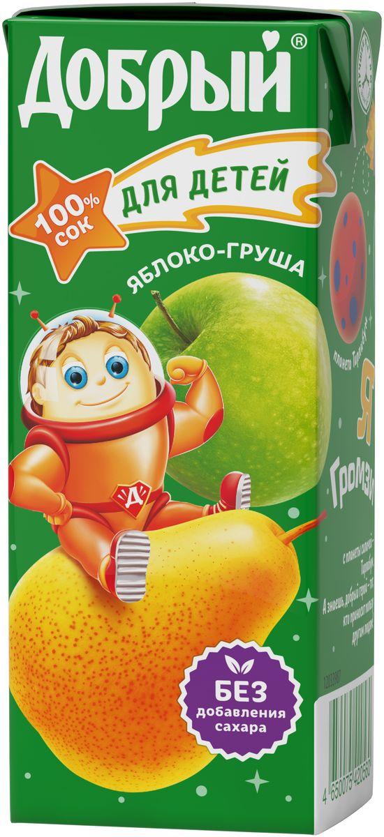 Добрый сок, яблоко-груша, 0,2 л4650075420560Добрый Сок из яблок и груш для детей с 5 месяцев изготовлен из концентрированных соков.