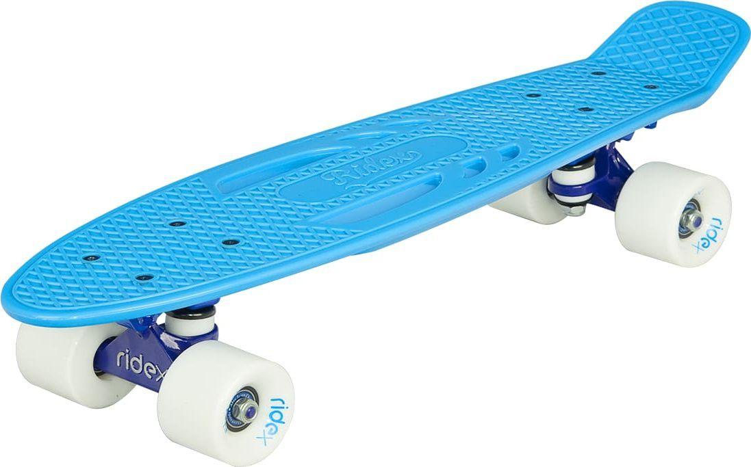 Круизер Ridex Skyfall, цвет: голубой, 56 х 15 см, ABEC Seven ChromeУТ-00009662Удобная конструкция с отверстиями и индивидуальный дизайн делают данную модель круизера стильным и удобным средством передвижения для начинающих и профессиональных райдеров.Особенность данной модели заключается в наличии отверстий в деке, которые позволяют переносить доску, не прижимая ее к телу.Классическая пластиковая дека обеспечивает прочность круизера.Усиленная подвеска, бушинги и полиуретановые колеса обеспечивают уверенное и комфортное передвижение на различных поверхностях.Высококачественные подшипники ABEC SEVEN Chrome позволяют развивать достаточную скорость для того, чтобы наслаждаться катанием.