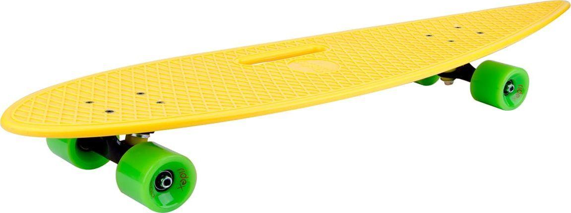 Лонгборд Ridex Citro, цвет: желтый, 36 x 9УТ-00009765Наиболее подходящая модель для совершенствования начальных навыков и комфортного, размеренного катания - круизный пластиковый лонгборд бренда Ridex. Это форма подходит райдерам, предпочитающим прогулки по городу (компьютинг), также она идеально подходит для карвинга (езда дугами) и пампинга (поддержание скорости доски, ускорение без необходимости отталкиваться ногой от асфальта). Удобное отверстие в деке позволит без труда переносить доску в общественных местах, а также хранить лонгборд. Алюминиевая подвеска, полиуретановые бушинги и колеса обеспечат маневренность на различных поверхностях, а качественные подшипники ABEC-7 Chrome гарантируют плавный и уверенный накат. Привлекательное сочетание сочных, ярких цветов привлечет внимание окружающих и создаст хорошее настроение! Характеристики: Дека: 36 х 9, пластиковая. Подвеска: алюминий 5, окрашенная. Бушинги: PU, жесткость 85А. Материал колес: PU. Размер колес: 65 мм. Жесткость колес: 78А. Подшипники: ABEC-7. Рекомендуемый вес пользователя: 100 кг. Максимальный вес пользователя: 120 кг. Вес: 3,2 кг. Отверстие-держатель для удобной переноски.