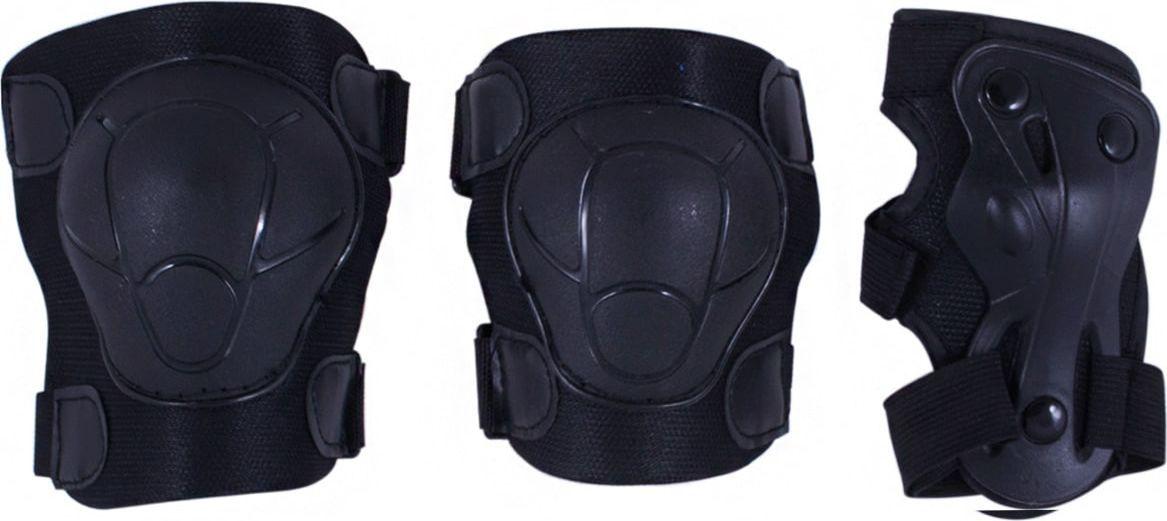 Комплект защиты Ridex Armor, цвет: черный. Размер SУТ-00008178В комплект защитной экипировки Ridex Armor входят: наколенники и налокотники - закрывают и предохраняют от ударов локти и колени - места вечных ссадин у детей. Специальная защита для запястий защищает кисть от ударов и предохраняет от вывихов. Вывихи, ушибы и переломы запястий - вообще самые частые травмы при катании на роликах, вне зависимости от стиля катания, опытности и других факторов. Крепкая пластиковая накладка для защиты суставов. Фиксируются при помощи удобных велькро липучек. Защитная экипировка легко надевается и крепится при помощи ремней на липучках.Размер наколенников: 12,5 см х 10,5 см х 4,5 см.Размер налокотников: 11 см х 8 см х 3,5 см.Размер защиты запястий: 13 см х 6 см.