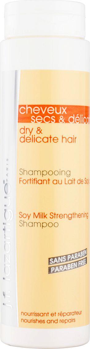 J.F.Lazartigue Укрепляющий шампунь с соевым молочком для сухих и тонких волос, 200 мл1269Шампунь предназначен для частого и ежедневного использования. Смягчает волосы, придает им легкость. Входящее в состав соевое молочко предотвращает обезвоживание и ломкость волос, способствует укреплению их структуры. Особенно рекомендуется для ухода за сухими, ослабленными, тонкими волосами, имеющими небольшой объем.Продукт не содержит парабенов.