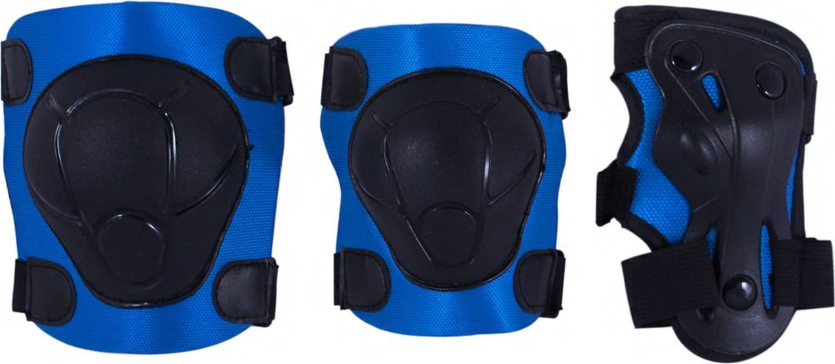 Комплект защиты Ridex Armor, цвет: синий. Размер MУТ-00008176В комплект защитной экипировки Ridex Armor входят: наколенники и налокотники - закрывают и предохраняют от ударов локти и колени - места вечных ссадин у детей. Специальная защита для запястий защищает кисть от ударов и предохраняет от вывихов. Вывихи, ушибы и переломы запястий - вообще самые частые травмы при катании на роликах, вне зависимости от стиля катания, опытности и других факторов. Крепкая пластиковая накладка для защиты суставов. Фиксируются при помощи удобных велькро липучек.