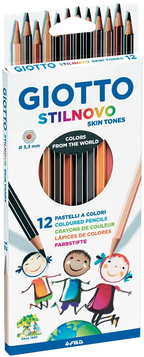 Giotto Набор цветных карандашей Stilnovo 12 шт257400Деревянные карандаши, 12 шт. Оттенки натуральных цветов кожи. Гексагональной формы. Изготовлены из сертифицированной древесины. Легко и экономично затачиваются, не крошатся. Толщина грифеля 3,3 мм. Максимально мягкое рисование. На корпусе карандаша имеется место для персонализации.