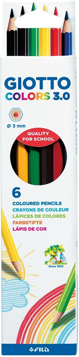 Giotto Набор цветных карандашей Colors 3.0 6 шт набор д творчества giotto make up classic набор д грима 6 классических цветов карандашей 470200