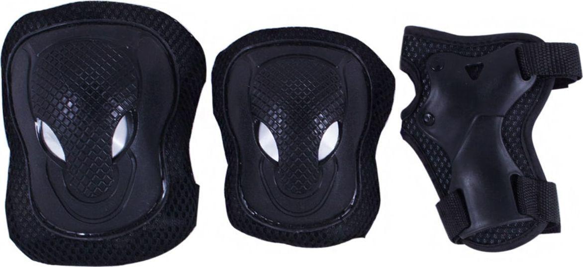 Комплект защиты Ridex Agent, цвет: черный. Размер LУТ-00008183Комплект защиты Agent - это комплект защиты на локти, колени и запястье. Мягкий внутренний материал. Удобные велкро липучки. Усиленная пластиковая накладка для защиты суставов.Внешний материал: ПВХ.Внутренний материал: ткань.Регулируемые ремни: есть.