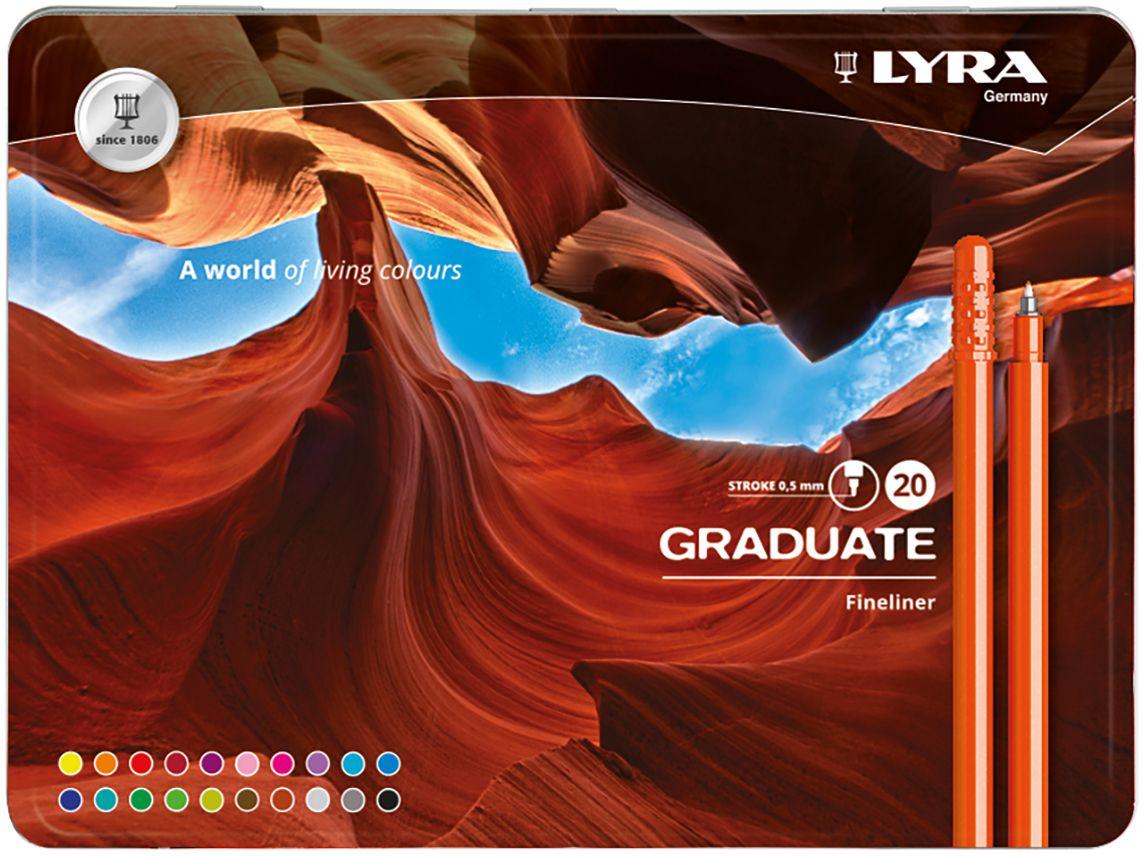 Lyra Набор капиллярных ручек Graduate Fineliner 20 цветов светло серый светло зеленый цв 4