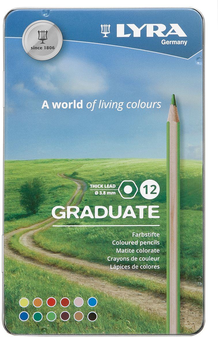 Lyra Набор цветных карандашей Graduate 12 шт L2871120 карандаши fila lyra graduate гексагональные цветные карандаши 12шт картонная упаковка