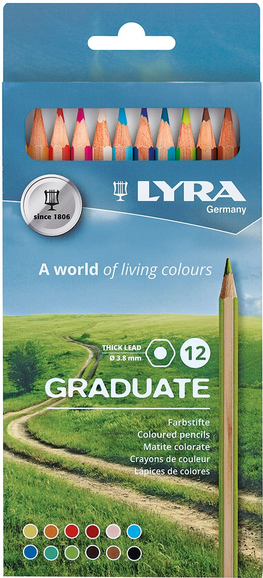 Lyra Набор цветных карандашей Graduate 12 шт L2871121 pure pcocc earphone cable pep insulated for m audio ie 20xb ie40 ie30 ie10 iem tf10 5pro sf3 sf5 5eb ln004860