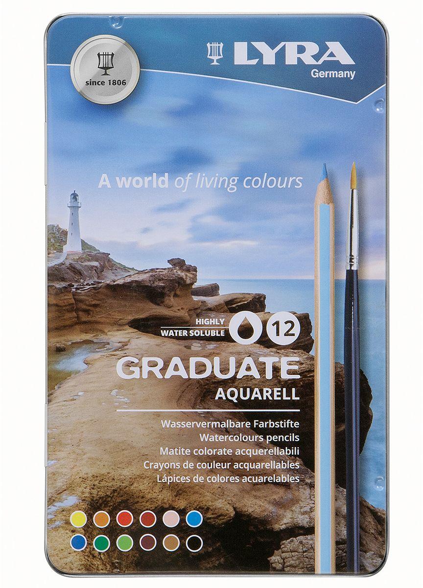 Lyra Набор акварельных цветных карандашей Graduate Aquarell 12 шт карандаши fila lyra graduate гексагональные цветные карандаши 12шт картонная упаковка