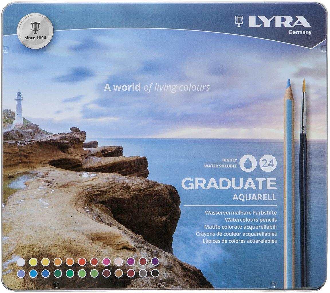 Lyra Набор акварельных цветных карандашей Graduate Aquarell 24 шт -  Карандаши