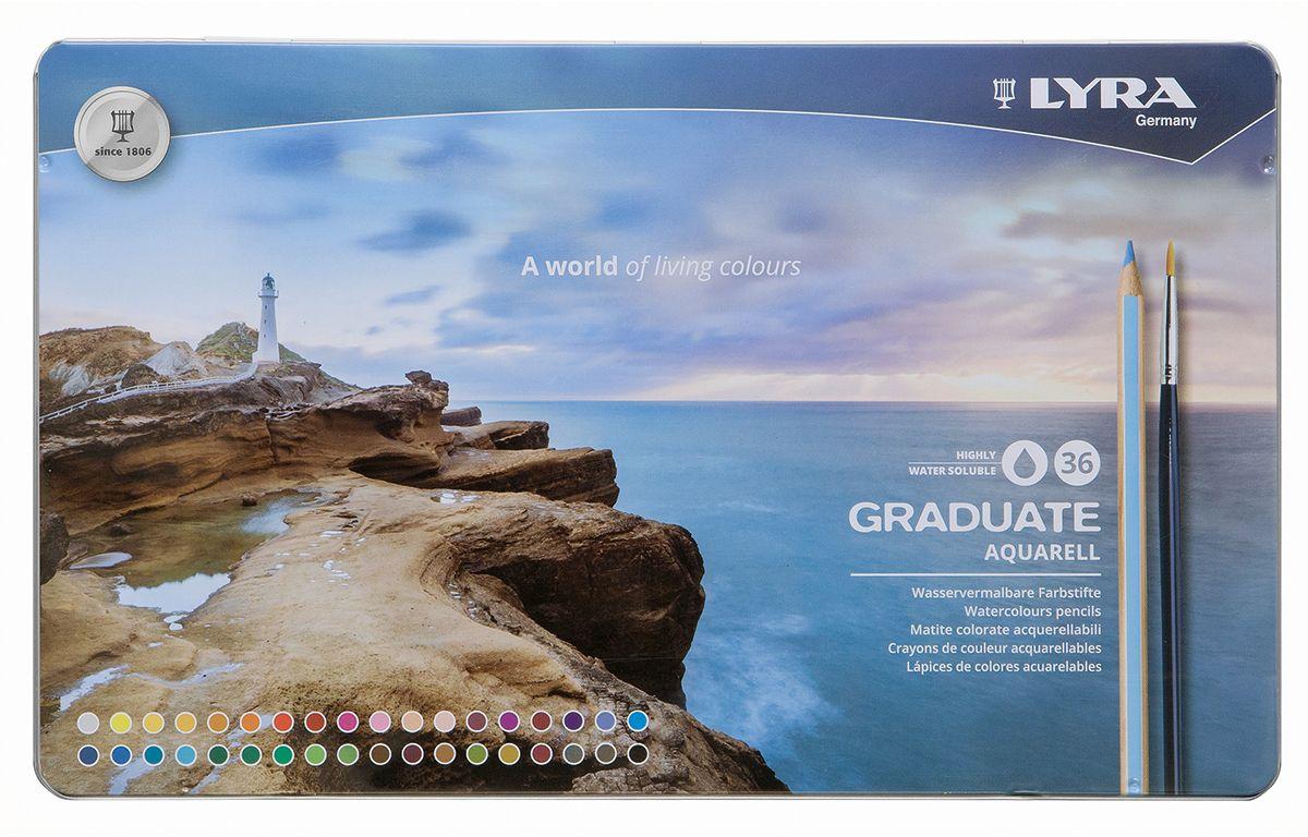 Lyra Набор акварельных цветных карандашей Graduate Aquarell 36 шт карандаши fila lyra graduate гексагональные цветные карандаши 12шт картонная упаковка