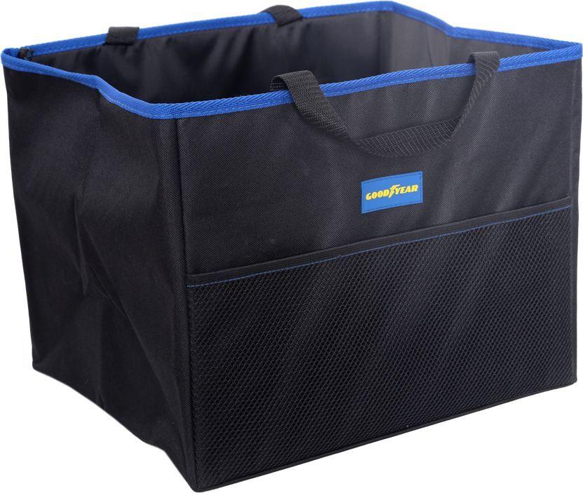 Органайзер в багажник Goodyear, складной, 1 секцияGY001001Большой складной органайзер Goodyear в форме ящика выполнен из полиэстера и снабжен жесткими стенками. Благодаря водоотталкивающим свойствам материала, вы сможете защитить обивку багажника от случайного загрязнения жидкими веществами, которые хранятся в нем. Имеется 1 большое отделение, спереди расположен сетчатый карман. Компактный размер в сложенном виде. Удобные ручки для переноски. Аксессуар универсален для всех авто. Позволяет рационально использовать багажное пространство и хранить все необходимые предметы в порядке. Органайзер легко устанавливается без дополнительного крепежа и очищается губкой. Идеален для выездов на природу и за покупками.