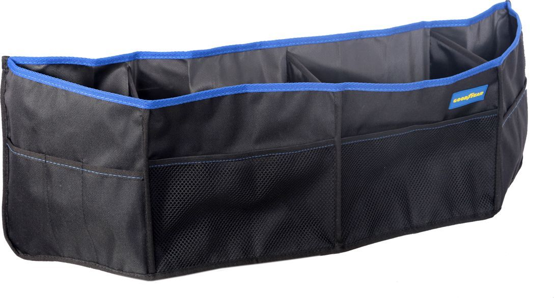 Органайзер в багажник Goodyear, подвесной, для седана, 79 х 25 смGY001004Подвесной органайзер в багажник Goodyear выполнен из прочнойнепромокаемой ткани. Благодаря непромокаемости материала, вы сможетезащитить обивку багажника от случайного загрязнения жидкими веществами,которые хранятся в багажнике.Органайзер имеет компактные размеры, снабжен креплением на эластичныхшнурах для багажника автомобиля. Аксессуар универсален для всех авто с типомкузова седан. Имеется 4 вместительных отделения, снаружи расположено 2сетчатых и 6 тканевых кармана.Такой органайзер позволит рационально использовать багажноепространство и хранить все необходимые предметы в порядке. Органайзер легкоустанавливается без дополнительного крепежа и очищается губкой.