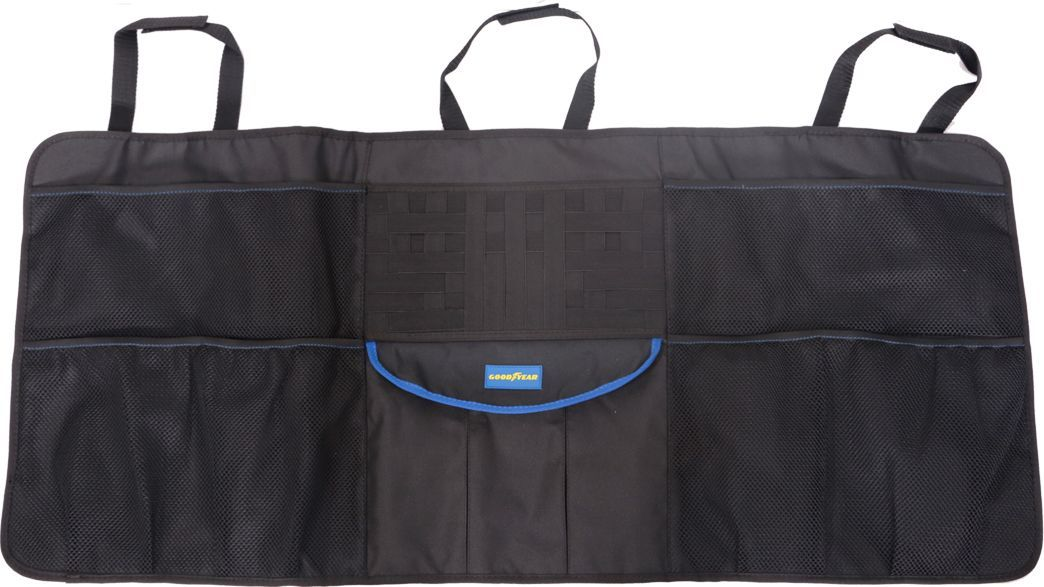 Органайзер в багажник Goodyear, подвесной, для хэтчбекаGY001005Подвесной органайзер Goodyear компактного размера с креплением на липучках и эластичных шнурах предназначен для багажника автомобиля. Аксессуар универсален для всех авто с типом кузова хэтчбек.органайзер позволяет рационально использовать багажное пространство и хранить все необходимые предметы в порядке. Он легко устанавливается без дополнительных креплений и очищается губкой. Благодаря непромокаемости материала, вы сможете защитить обивку багажника от случайного загрязнения жидкими веществами, которые хранятся в багажнике.