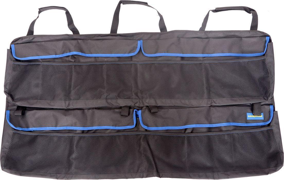 Органайзер в багажник Goodyear, подвесной, для внедорожникаGY001006Большой подвесной органайзер с креплением на липучках и эластичных шнурах для багажника автомобиля. Аксессуар универсален для всех авто с типом кузова внедорожник. Позволяет рационально использовать багажное пространство и хранить все необходимые предметы в порядке. Органайзер легко устанавливается без дополнительного крепежа и очищается губкой. Благодаря непромокаемости материала, Вы сможете защитить обивку багажника от случайного загрязнения жидкими веществами, которые хранятся в багажнике.