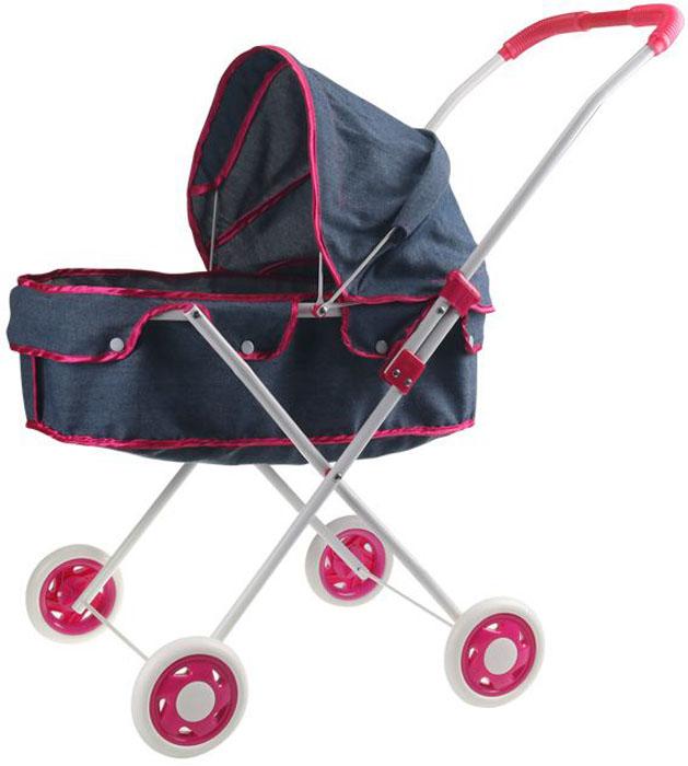 1Toy Коляска-люлька для куклы Красотка-Джинс цвет серый Т10385 1 toy кукольный домик красотка колокольчик с мебелью 29 деталей