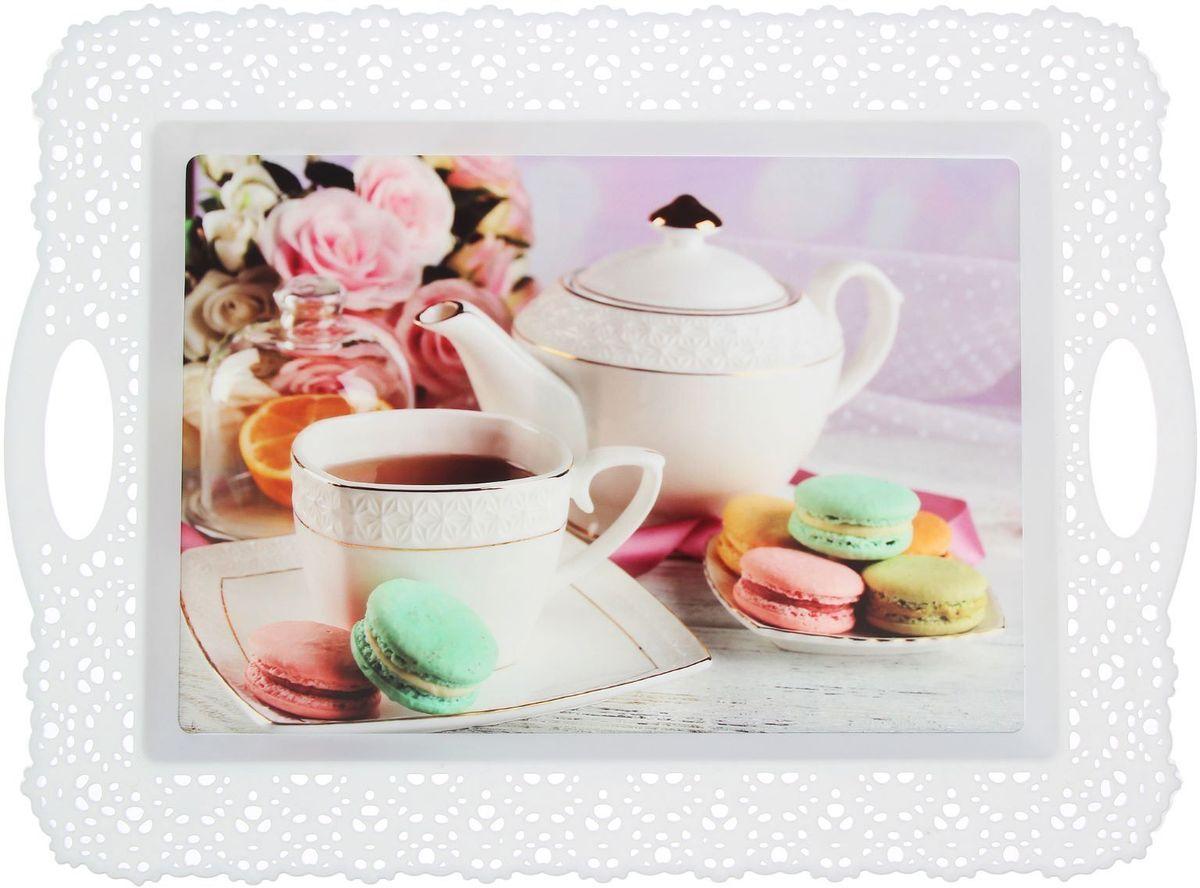 Поднос Fimako К чаю, цвет: белый, 44 х 32 х 1 см1552014Оригинальный поднос Fimako К чаю, изготовленный из прочного пищевого пластика, станет незаменимым предметом для сервировки стола. Для удобства переноски предусмотрены удобные ручки и бортики. Такой поднос станет полезным и практичным приобретением для вашей кухни.Любой хозяйке будет приятно держать его в руках.