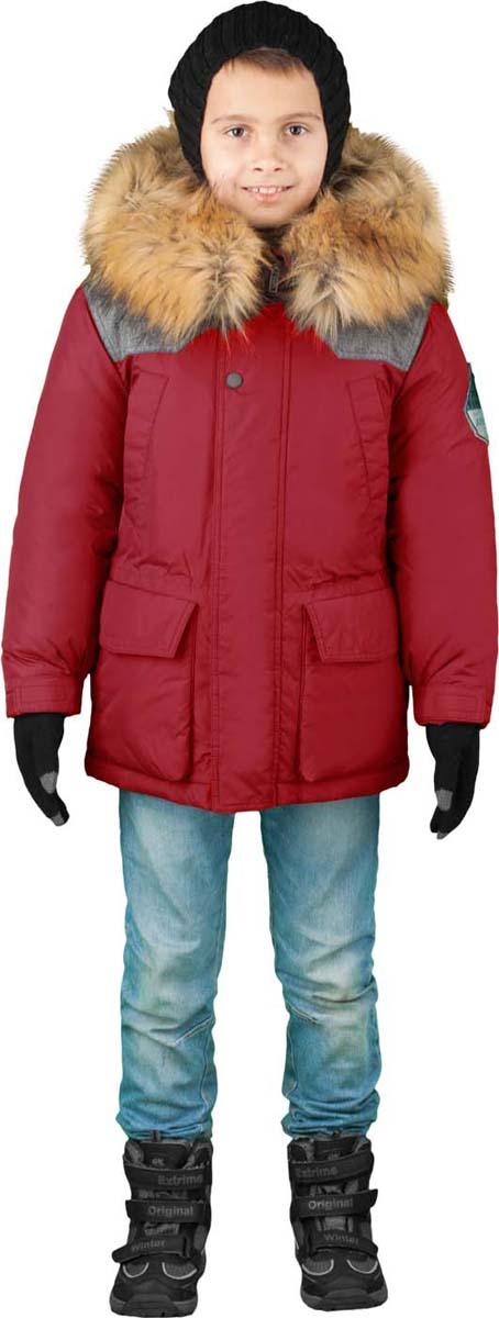 Куртка для мальчика Boom!, цвет: красный. 70491_BOB_вар.2. Размер 134, 9-10 лет70491_BOB_вар.2Куртка от Boom! изготовлена из водонепроницаемого и ветрозащитного материала с утеплителем из синтепона и Flexy Fiber. Модель с подстежкой застегивается на пластиковую застежку-молнию. Куртка дополнена несъемным капюшоном с опушкой из искусственного меха и вместительными карманами. Универсальная модель, как на морозы, так и на оттепель. Оригинальные дизайнерские элементы делают модель необычной и яркой.