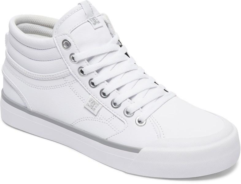 Кеды женские DC Shoes Evan Hi, цвет: белый, серебристый. ADJS300147-WS4. Размер 6B (37)ADJS300147-WS4Кеды от DC Shoes выполнены из натуральной кожи зернистой текстуры и оформлена прострочкой. Язычок оформлен фирменной нашивкой. Ярлычок на заднике облегчит надевание модели. На ноге модель фиксируется с помощью шнурков. Внутренняя поверхность выполнена из текстиля. Стелька из ЭВА-материала с покрытием из текстиля комфортна при движении. Подошва изготовлена из высококачественной резины и дополнена протектором, который гарантирует отличное сцепление с любой поверхностью.