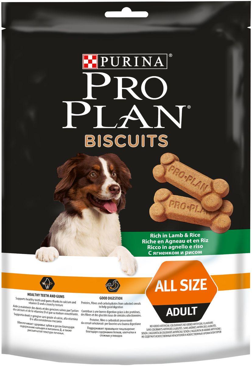 Лакомство Pro Plan Biscuits для собак, с ягненком и рисом, 400 г сухой корм pro plan optiweight light sterilised adult all size с курицей для склонных к избыточному весу стерилизованных собак 14кг 12272558