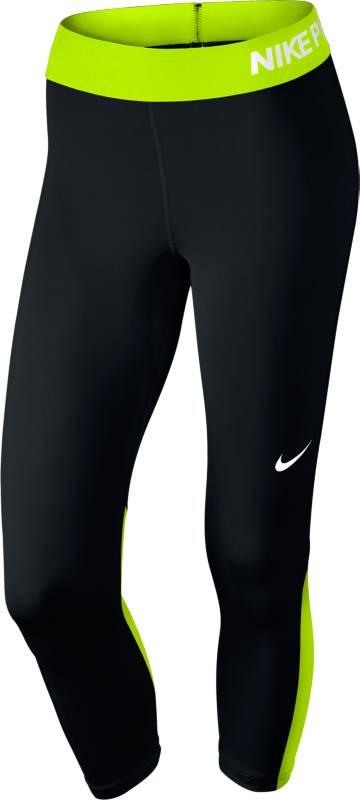 Капри для фитнеса женские Nike W Np Cpri, цвет: черный, салатовый. 725468-017. Размер XS (40/42)725468-017Капри Nike Pro Cool идеально подходят для тренировок. Модель изготовленная из эластичного материала Dri-FIT обеспечивает комфорт, сетчатый материал под коленями отлично справляется с терморегуляцией. Плотный эластичный пояс облегает и фиксируется на талии.