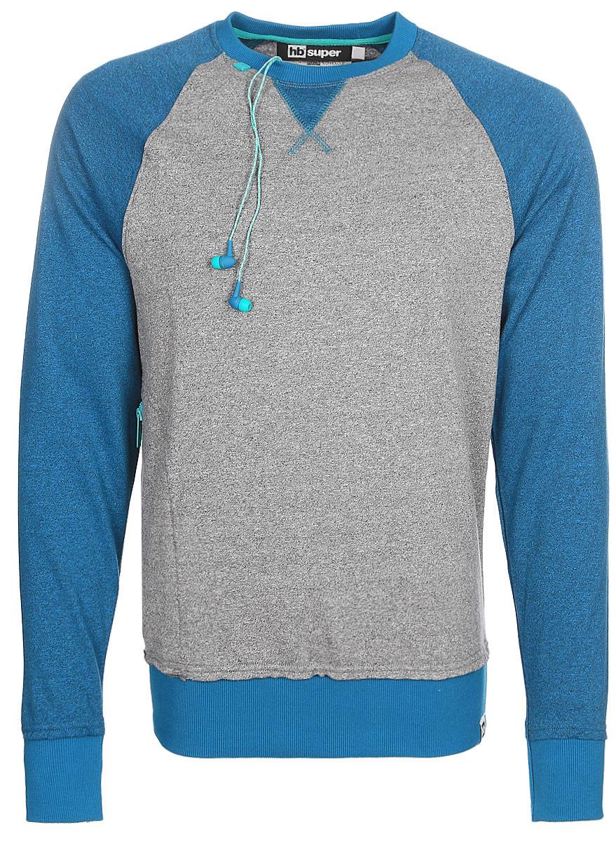 Лонгслив мужской Hoodiebuddie Posse, со встроенными наушниками, цвет: сине-серый. DT12629NVAB9999A. Размер L (50) толстовка hoodiebuddie hoodiebuddie ho649ewkfu26