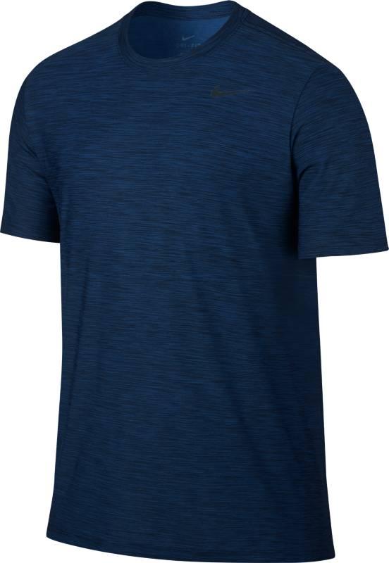 Футболка мужская Nike M Nk Brthe Top Ss Dry, цвет: синий. 832864-429. Размер M (46/48)832864-429Мужская футболка Nike M Nk Brthe Top Ss Dry выполнена из невероятно мягкой меланжевой ткани. Ткань Nike Dry обеспечивает вентиляцию и комфорт. Модель с круглым вырезом горловины и короткими рукавами имеет зауженный крой. Форма и функция соединились в обновленном более минималистичном исполнении мужской футболки для тренинга Nike Dry.
