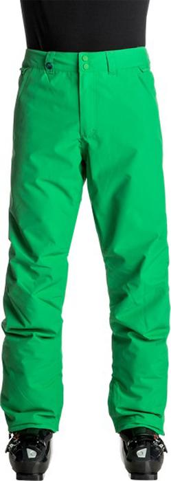 Брюки утепленные мужские Quiksilver Estate, цвет: зеленый. EQYTP03064-GNK0. Размер M (48)EQYTP03064-GNK0Сноубордические брюки Quiksilver Estate изготовлены из мембранной ткани (полиэстер простого плетения). В качестве утеплителя используется полиэстер (40 г). Подкладка выполнена из тафты и трикотажа с начесом. Предусмотрены вентиляционные прорези на сеточной подкладке. Все основные швы проклеены.Модель современного кроя имеет ширинку с застежкой-молнией и пояс на утяжке для регулировки размера. Спереди расположены два втачных кармана, сзади - два накладных кармана с клапанами. Уплотненные края штанин дополнены вставками на кнопках и гейтерами из тафты. Также по низу брючин имеется система утяжки для защиты их от преждевременного износа.