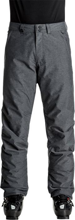 Брюки утепленные мужские Quiksilver Estate, цвет: темно-серый. EQYTP03064-KVJH. Размер M (48)EQYTP03064-KVJHСноубордические брюки Quiksilver Estate изготовлены из мембранной ткани. В качестве утеплителя используется полиэстер (40 г). Подкладка выполнена из тафты и трикотажа с начесом. Предусмотрены вентиляционные прорези на сеточной подкладке. Все основные швы проклеены.Модель современного кроя имеет ширинку с застежкой-молнией и пояс на утяжке для регулировки размера. Спереди расположены два втачных кармана, сзади - два накладных кармана с клапанами. Уплотненные края штанин дополнены вставками на кнопках и гейтерами из тафты. Также по низу брючин имеется система утяжки для защиты их от преждевременного износа.
