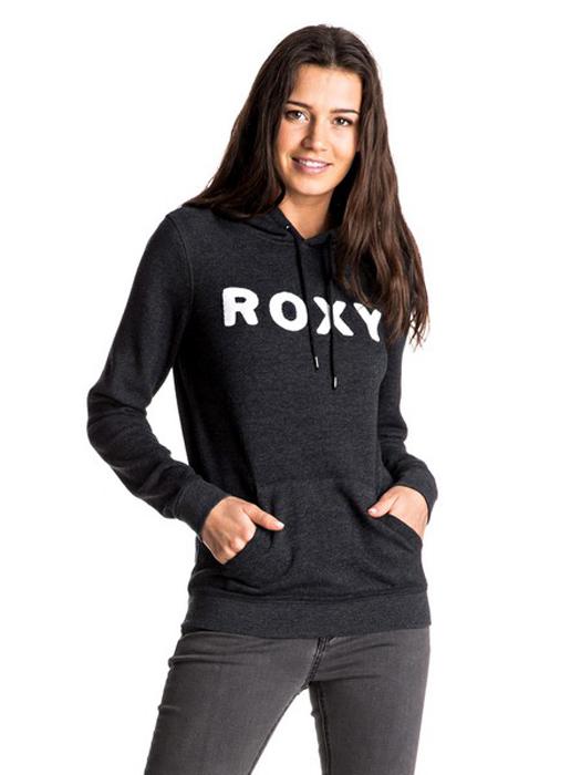 куртка женская roxy billie цвет бирюзовый erjtj03121 bfk0 размер s 42 Толстовка женская Roxy, цвет: черный. ERJFT03595-KVJ0. Размер S (42)