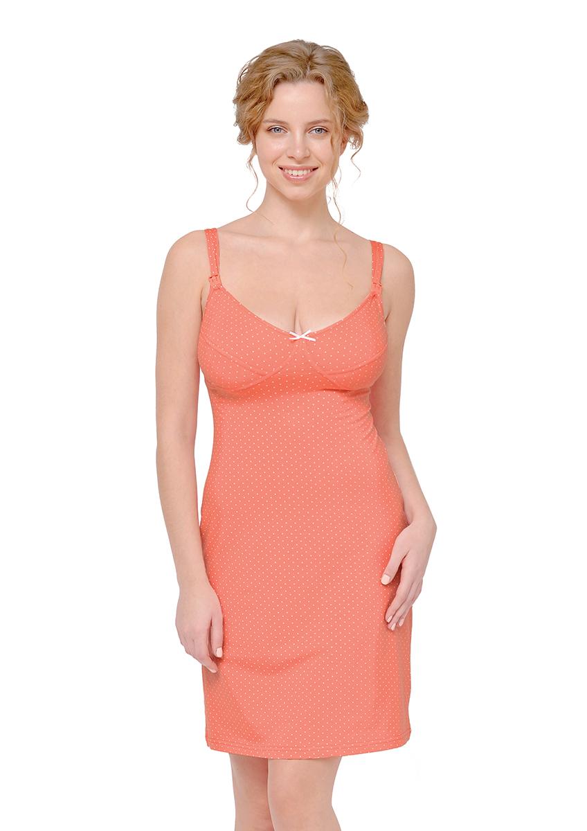 Сорочка ночная для беременных и кормящих Мамин Дом Coral, цвет: коралловый. 24128. Размер 48