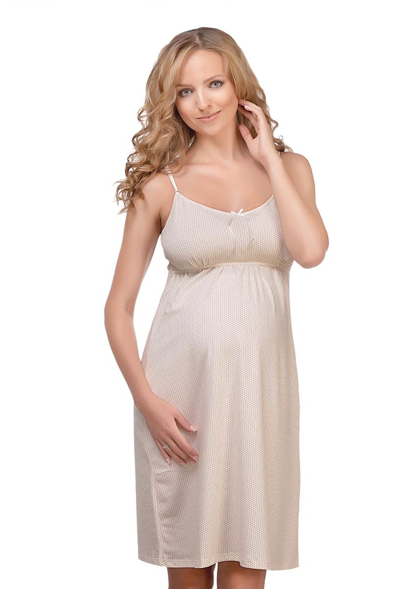 Сорочка ночная для беременных и кормящих Мамин Дом Miky Way, цвет: молочный. 24129. Размер 48
