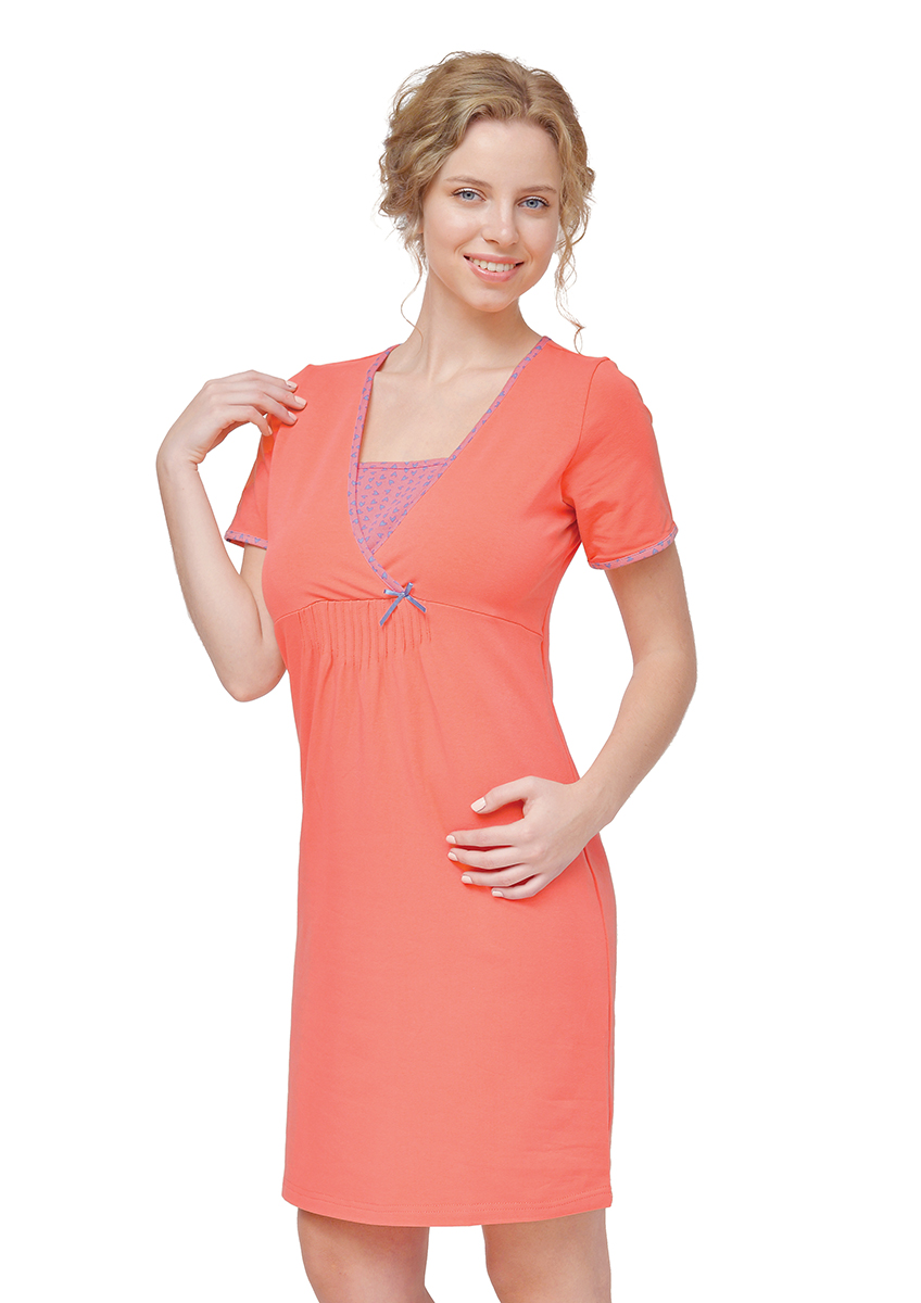Сорочка ночная для беременных и кормящих Мамин Дом Harmony, цвет: коралловый. 24160. Размер 44
