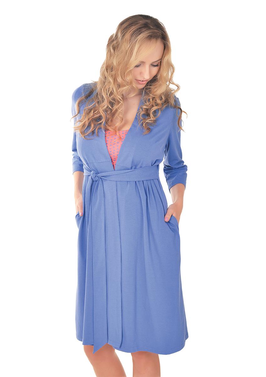 Халат для беременных и кормящих Мамин Дом Freedom, цвет: сине-фиолетовый. 25308. Размер 42