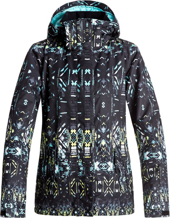 Куртка женская Roxy, цвет: черный. ERJTJ03125-KVJ8. Размер XS (40)ERJTJ03125-KVJ8Куртка женская Roxy выполнена из полиэстера. Модель с длинными рукавами и капюшоном оформлена оригинальным принтом.