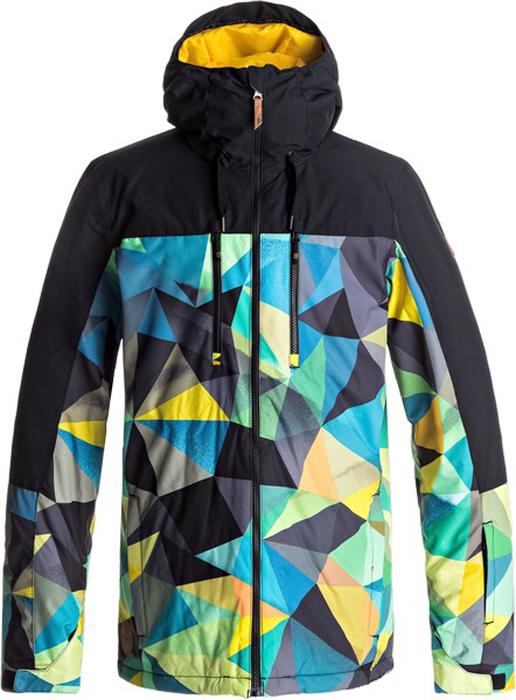 Куртка мужская Quiksilver, цвет: антрацитовый, лазурный, светло-оранжевый. EQYTJ03126-BYH6. Размер XXL (54)EQYTJ03126-BYH6Сноубордическая куртка Quiksilver изготовлена из мембранной ткани (полиэстер простого плетения). В качестве утеплителя используется наполнитель Warmflight (тело 100 г, рукава 80 г, капюшон 60 г). Подкладка выполнена из тафты и трикотажа с начесом. Предусмотрены сеточные вставки в области подмышек. Все основные швы проклеены. Система пристегивания позволяет куртку и штаны пристегнуть друг к другу.Модель современного кроя с капюшоном застегивается на молнию с защитой подбородка. Капюшон оснащен тремя регулировками. Куртка дополнена несъемной противоснежной юбкой, которая застегивается на кнопки. Манжеты рукавов регулируются с помощью хлястиков и липучек. Куртка имеет удобные карманы, из которых карман для скипасса и внутренний карман для катальной маски. Имеется карабин для ключей.