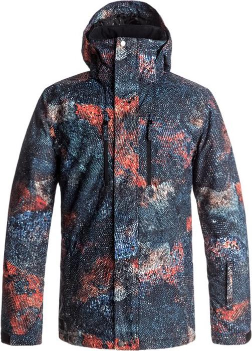 Куртка мужская Quiksilver, цвет: антрацитовый, голубой, оранжевый. EQYTJ03153-NMS9. Размер XL (52)EQYTJ03153-NMS9Сноубордическая куртка Quiksilver изготовлена из мембранной ткани (полиэстер простого плетения). В качестве утеплителя используется наполнитель Warmflight (тело 120 г, рукава 80 г, капюшон 60 г). Подкладка выполнена из тафты и трикотажа с начесом. Предусмотрены сеточные вставки в области подмышек. Все основные швы проклеены. Система пристегивания позволяет куртку и штаны пристегнуть друг к другу.Модель современного кроя со съемным капюшоном застегивается на молнию с ветрозащитной планкой на кнопках. Размер капюшона можно регулировать. Куртка дополнена несъемной противоснежной юбкой, которая застегивается на кнопки. Манжеты рукавов регулируются с помощью хлястиков и липучек. Куртка имеет удобные карманы, из которых карман для скипасса и внутренний карман для катальной маски. Имеется карабин для ключей.