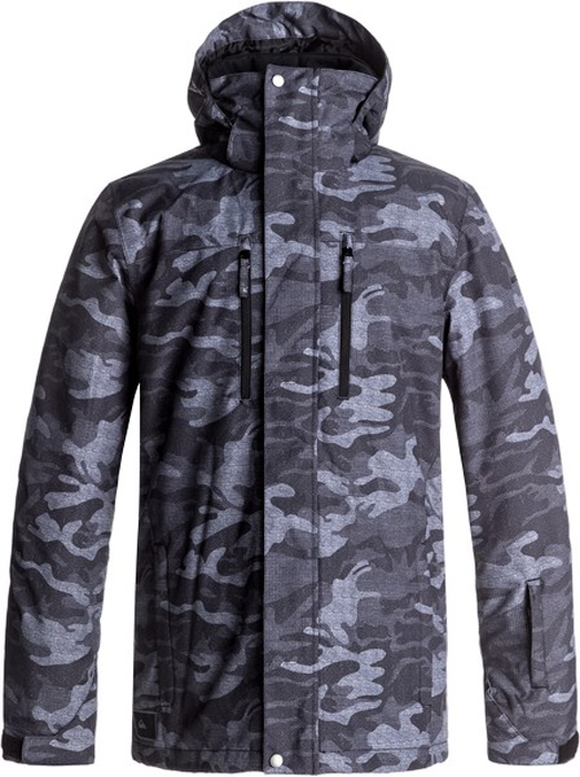Куртка мужская Quiksilver Mission, цвет: антрацитовый, серый, светло-серый. EQYTJ03128-KVJ9. Размер L (50)EQYTJ03128-KVJ9Сноубордическая куртка Quiksilver Mission изготовлена из мембранной ткани (полиэстер простого плетения). В качестве утеплителя используется наполнитель Warmflight (тело 120 г, рукава 80 г, капюшон 60 г). Подкладка выполнена из тафты и трикотажа с начесом. Предусмотрены сеточные вставки в области подмышек. Все основные швы проклеены. Система пристегивания позволяет куртку и штаны пристегнуть друг к другу.Модель современного кроя со съемным капюшоном застегивается на молнию с ветрозащитной планкой на кнопках. Размер капюшона можно регулировать. Куртка дополнена несъемной противоснежной юбкой, которая застегивается на кнопки. Манжеты рукавов регулируются с помощью хлястиков и липучек. Куртка имеет удобные карманы, из которых карман для скипасса и внутренний карман для катальной маски. Имеется карабин для ключей.