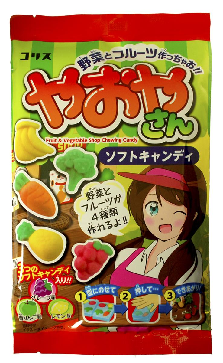 Coris Сделай Сам продавец овощей набор жевательных конфет, 26 г064884Жевательные конфеты и увлекательная игра от фирмы, подарившей нам наборы для детей Popin Cookin! Конфеты в виде овощей и фруктов, которые предстоит сделать самому, очень вкусные, имеют приятный аромат и тягучую текстуру. Не переживайте, японский продукт абсолютно безопасен для вашего малыша!