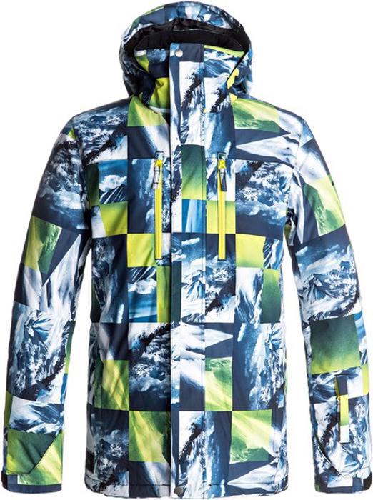 Куртка мужская Quiksilver Mission, цвет: белый, темно-синий, желтый. EQYTJ03128-GGP7. Размер S (46)EQYTJ03128-GGP7Сноубордическая куртка Quiksilver Mission изготовлена из мембранной ткани (полиэстер простого плетения). В качестве утеплителя используется наполнитель Warmflight (тело 120 г, рукава 80 г, капюшон 60 г). Подкладка выполнена из тафты и трикотажа с начесом. Предусмотрены сеточные вставки в области подмышек. Все основные швы проклеены. Система пристегивания позволяет куртку и штаны пристегнуть друг к другу.Модель современного кроя со съемным капюшоном застегивается на молнию с ветрозащитной планкой на кнопках. Размер капюшона можно регулировать. Куртка дополнена несъемной противоснежной юбкой, которая застегивается на кнопки. Манжеты рукавов регулируются с помощью хлястиков и липучек. Куртка имеет удобные карманы, из которых карман для скипасса и внутренний карман для катальной маски. Имеется карабин для ключей.