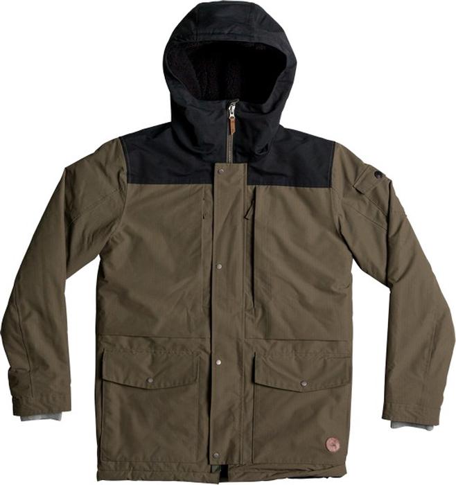 Куртка мужская Quiksilver Canyon, цвет: темно-зеленый, темно-серый. EQYJK03334-CRE0. Размер XL (52)EQYJK03334-CRE0Мужская куртка Quiksilver Canyon изготовлена из технологичного водостойкого материала. В качестве утеплителя используется наполнитель 3M Thinsulate Type KK (240 г). На изделии предусмотрена сверхтеплая подкладка из шерпы. Все основные швы проклеены. Модель современного кроя с капюшоном застегивается на молнию с ветрозащитной планкой на кнопках. Размер капюшона можно регулировать. На рукавах предусмотрены трикотажные манжеты. Куртка имеет удобные карманы, из которых два утеплены.